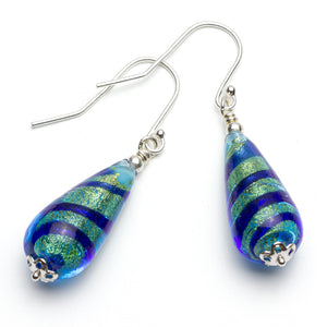 Murano Blue Stripe Glass Gold Foil Drop Earrings on White Background