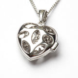Silver Heart CZ Locket