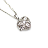 Sterling Silver Cubic Zirconia Heart Locket on White Background