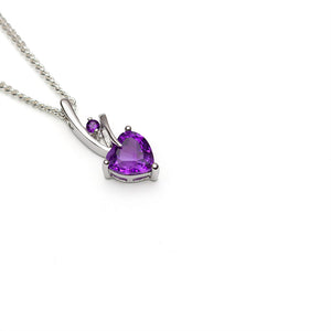 Small Amethyst Heart Pendant Sterling Silver on white background at an angle