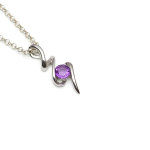Amethyst Sterling Silver Squiggle Pendant on White Background