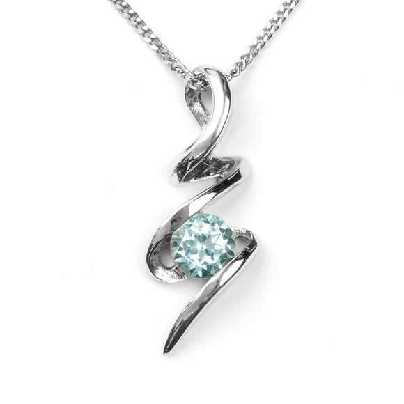 Sky Blue Topaz Squiggle Pendant on White Background