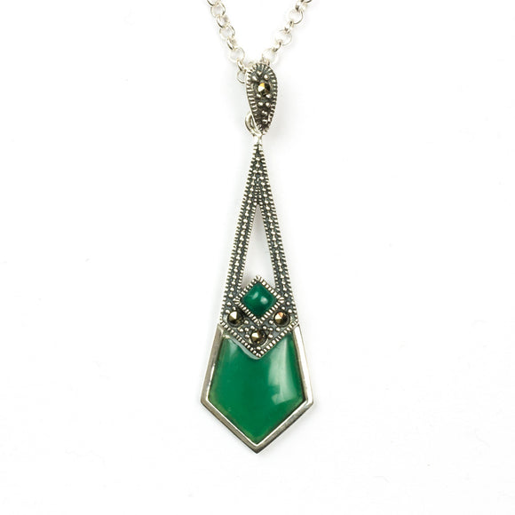Arrowhead Art Deco Style Green Agate Pendant on White Background