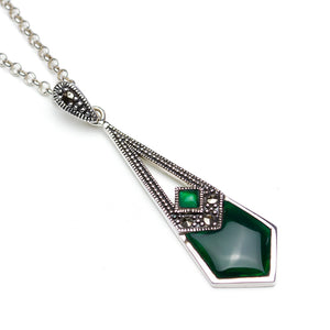 Green Agate Marcasite Art Deco STyle Pendant on white background