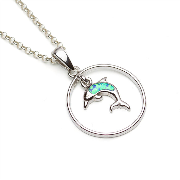 Sterling Silver Circular Pendant with lab-opal dolphin suspended, white background