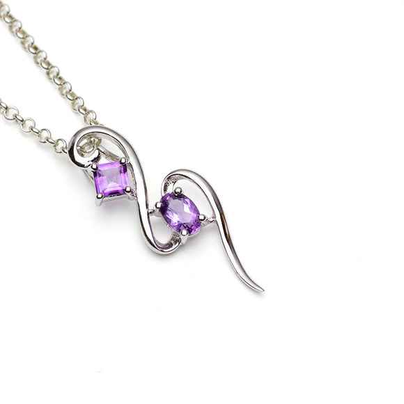 Double Amethyst Silver Pendant