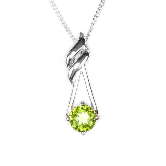 Sterling Silver Peridot Flame Pendant on White Background