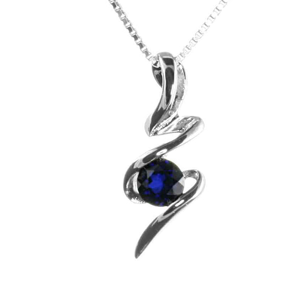 Lab Sapphire Sterling Silver Squiggle Pendant on White Background