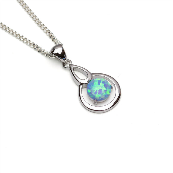 Blue Lab Opal Silver Pendant with white background