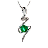 Lab Emerald Silver Squiggle Pendant on White Background