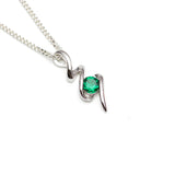 Lab Emerald Squiggle Pendant