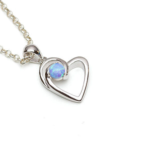 Silver Open Heart with Blue Sky Opal on white background
