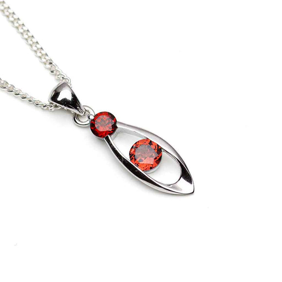 Twin Garnet Silver Pendant on white Background