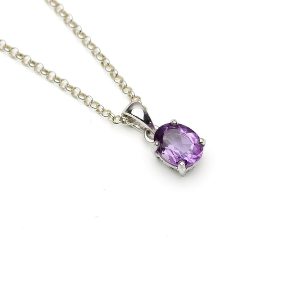Small Amethyst Solitaire pendant on Chain on White Background