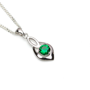 Lab-Created Emerald in Sterling Silver pendant on white background