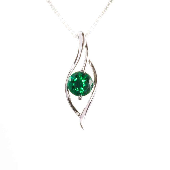 Lab Emerald Silver Wave Pendant on White Background