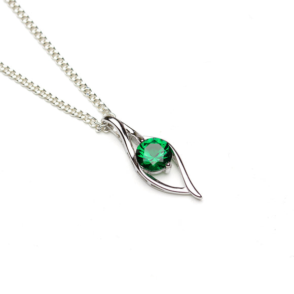 Lab Emerald Silver Wave Pendant