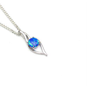 Blue Sea Lab Opal Sterling Silver Flame Pendant on white background