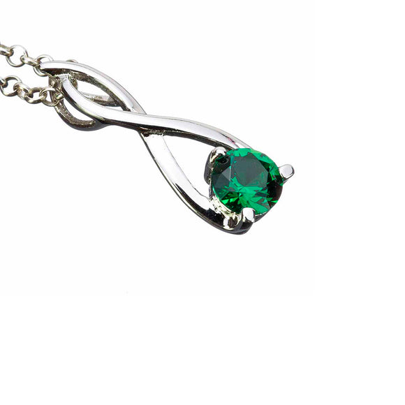 Lab Emerald Silver Twist Pendant on White Backround