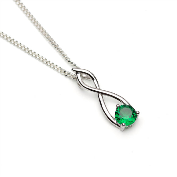 Lab Emerald Silver Twist Pendant