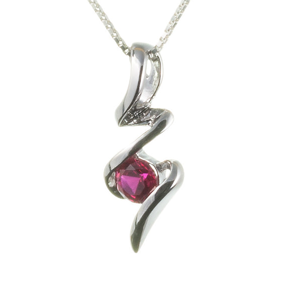 Lab Ruby Squiggle Pendant