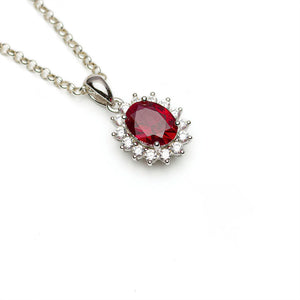 Lab-Ruby Oval CZ Halo Pendant on White Background