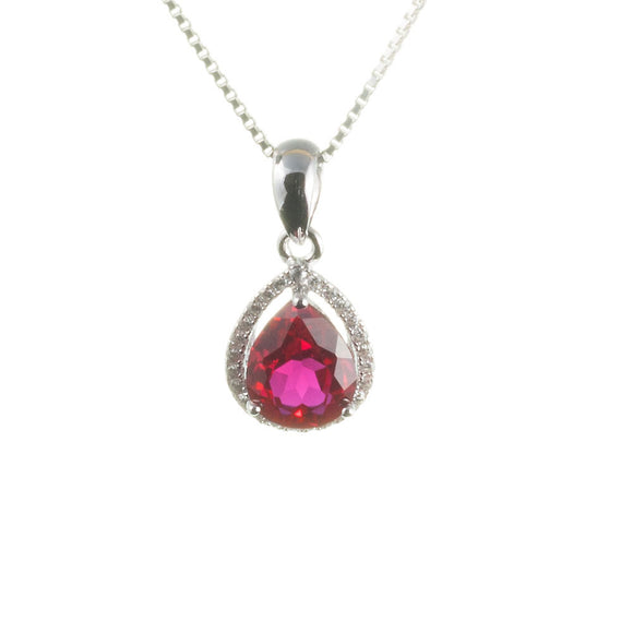 Lab Ruby Teardrop Pendant