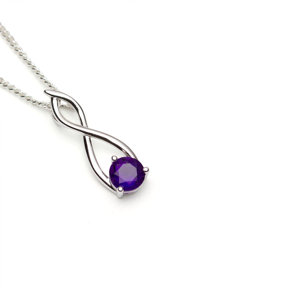 Amethyst Silver Twist Pendant on white background