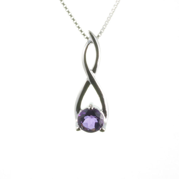 Sterling Silver Amethyst Twist Pendant on White Background