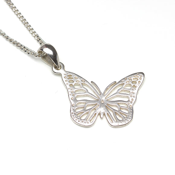 Silver Filigree Butterfly on white background