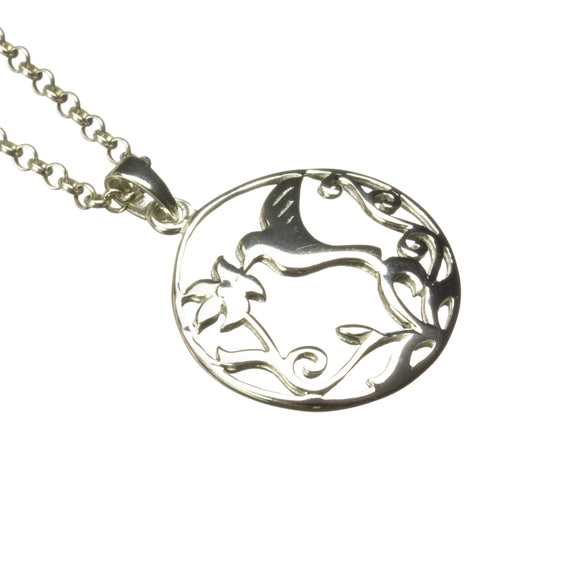 Circular Hummingbird Cut-Out Sterling Silver Pendant on White Background