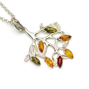 Tree of Life Silver Pendant Mixed Amber Leaves on White Background