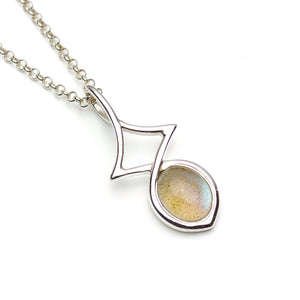 Labradorite Sterling Silver Abstract Pendant on White Background