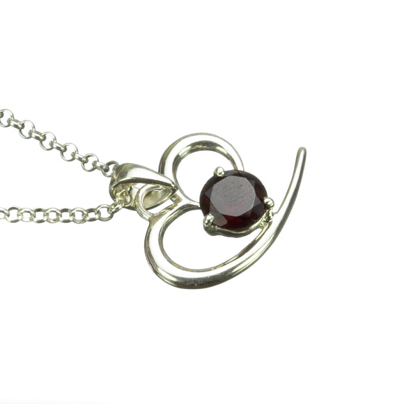 Garnet Abstract Silver Heart