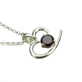 Sterling Silver Abstract Heart GArnet Pendant on White Background