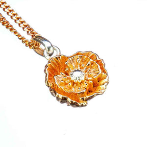 Poppy Birthflower Pendant - August