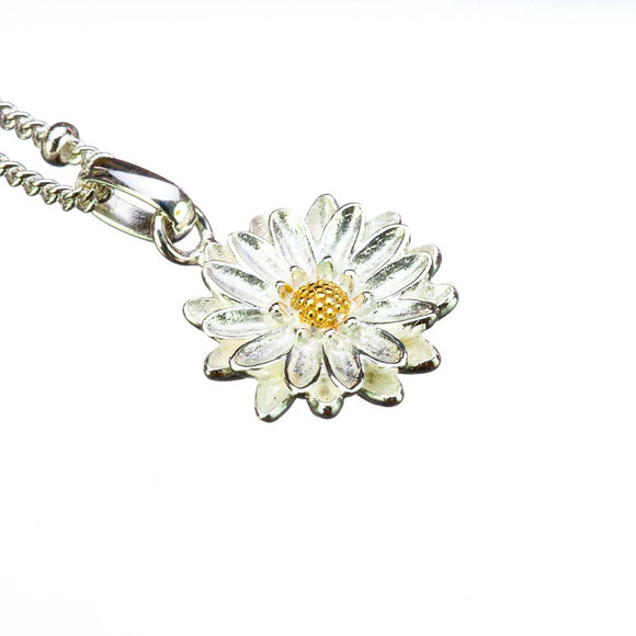 Aster Birthflower Silver Pendant on White Background