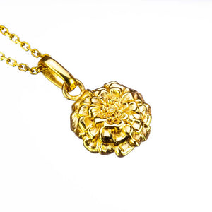Marigold Birth Flower Pendant Sterling Silver Gold Plate on White Background