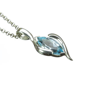 Blue Topaz Marquise Silver Pendant on White Background
