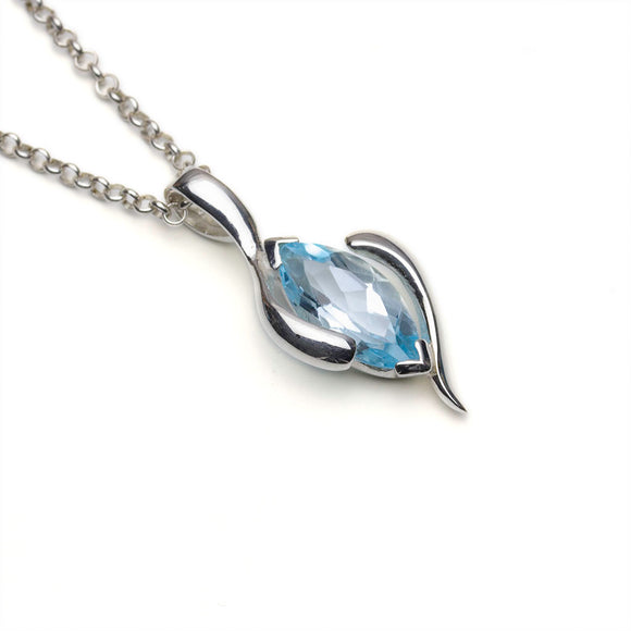 Blue Topaz Marquise Silver Pendant on Chain and White Background