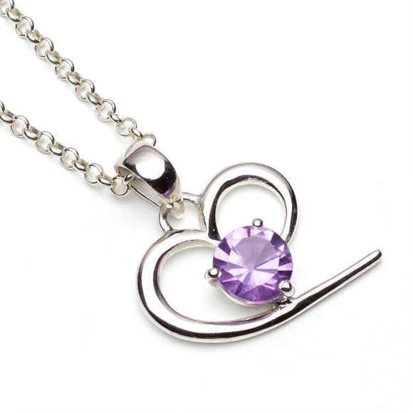 Sterling Silver Amethyst Abstract Heart Pendant on White Background