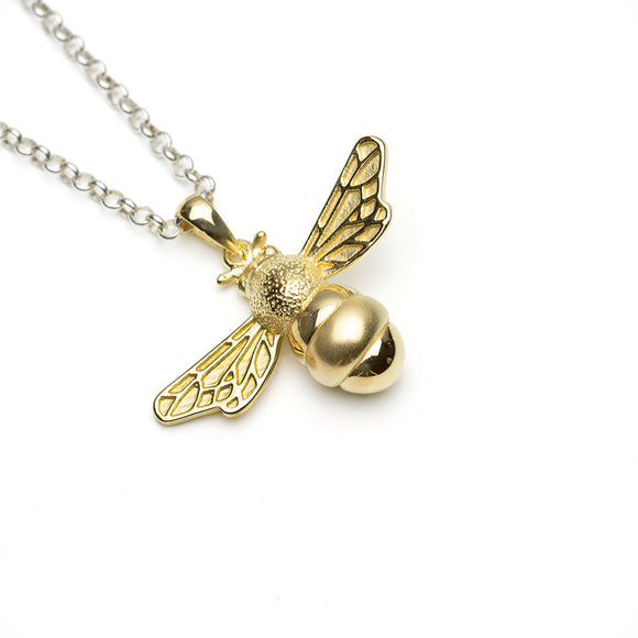 Golden Sterling Silver Bumble Bee Pendant on White Background