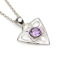 Triangular Amethyst Celtic Silver Pendant on White Background