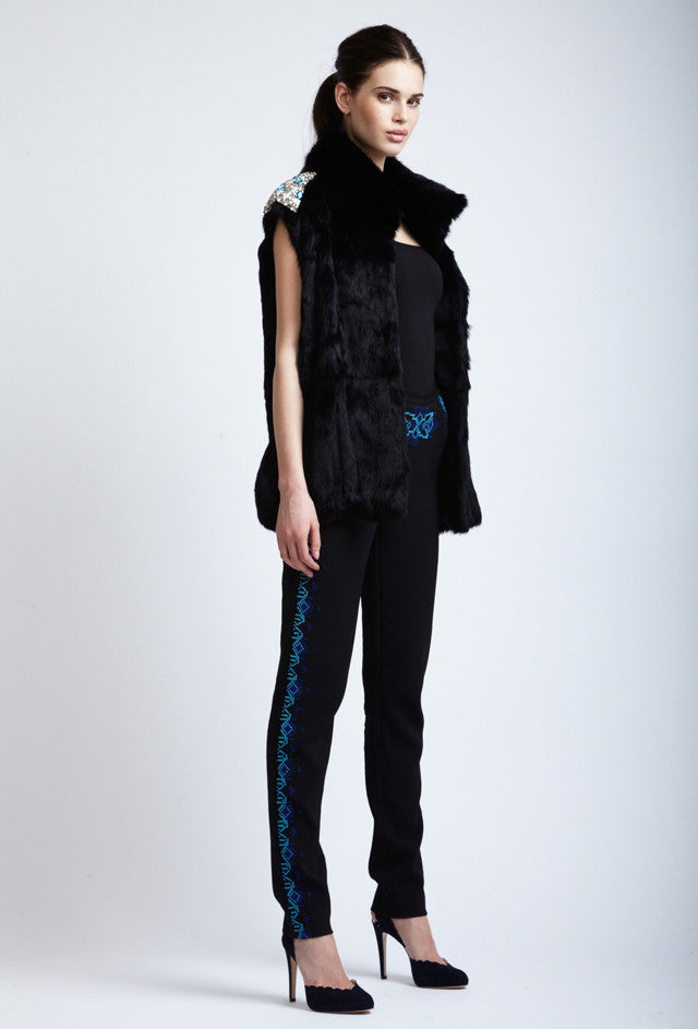 Fur Gillet with Embroidered Shoulders