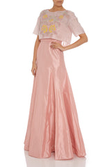 Taffeta strapless evening dress with caplet