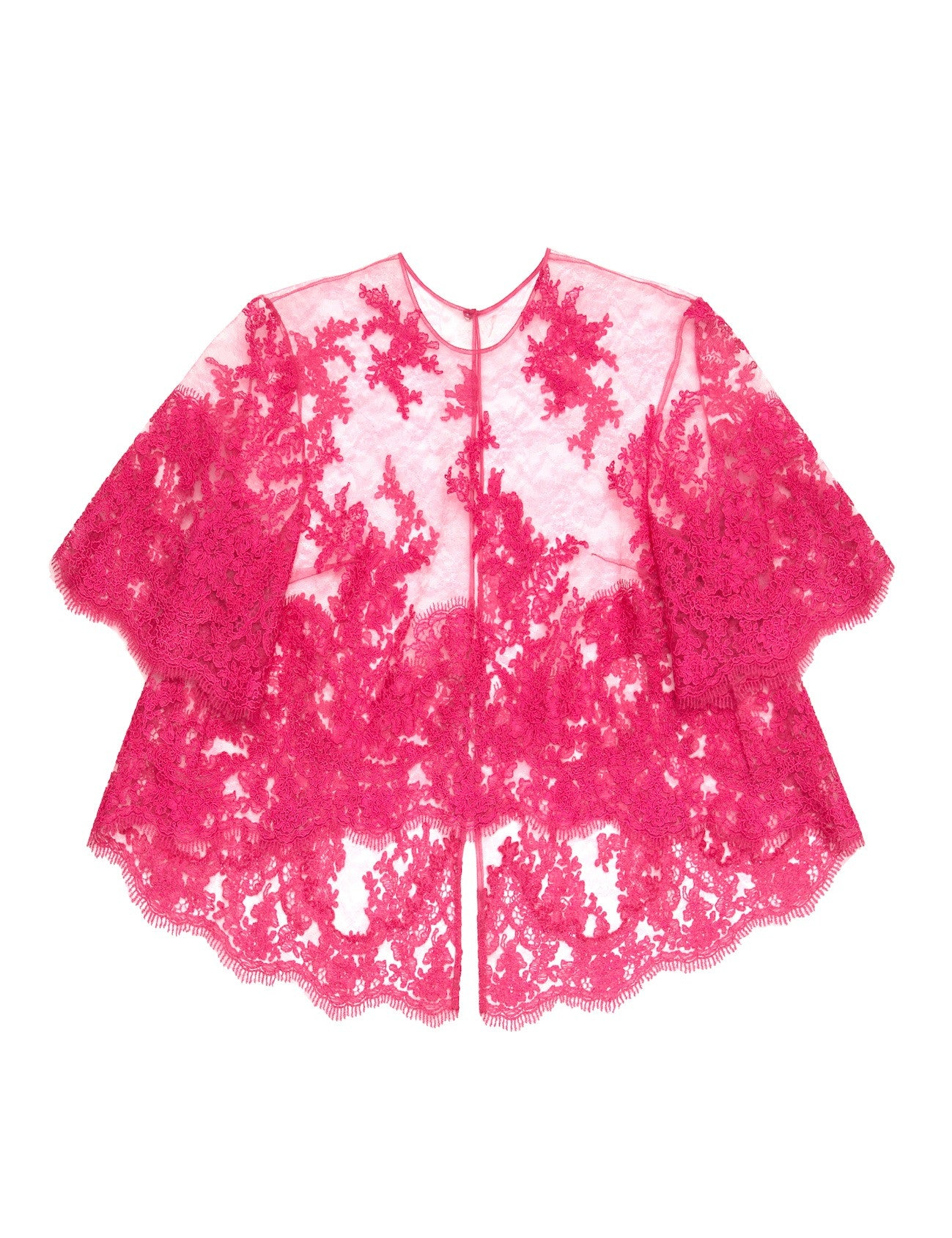Raspberry corded lace cape top with camisole