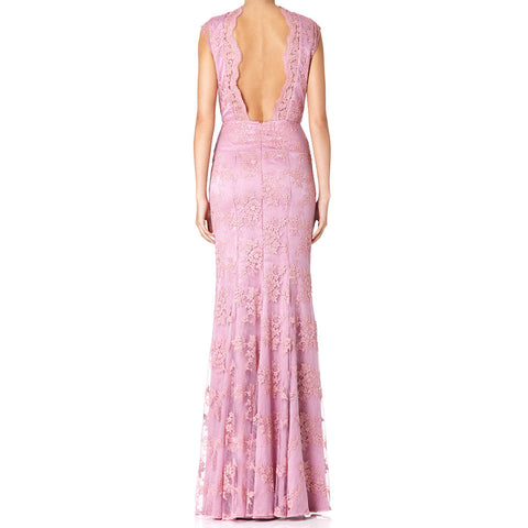 Gwen corded lace backless evening dress