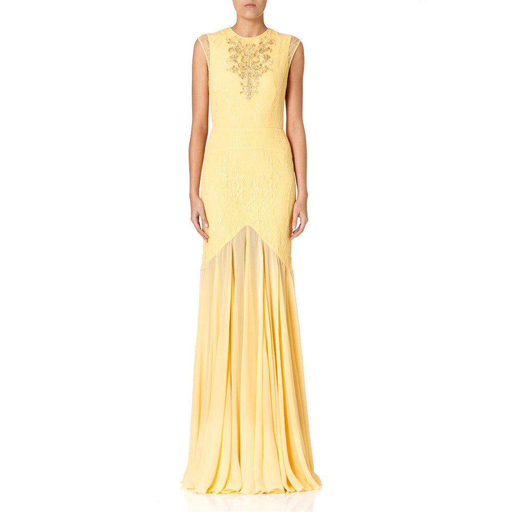 Aida embroidery chantilly lace evening dress