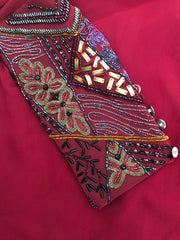 BURGUNDY Orissa Cuff Beaded Kaftan