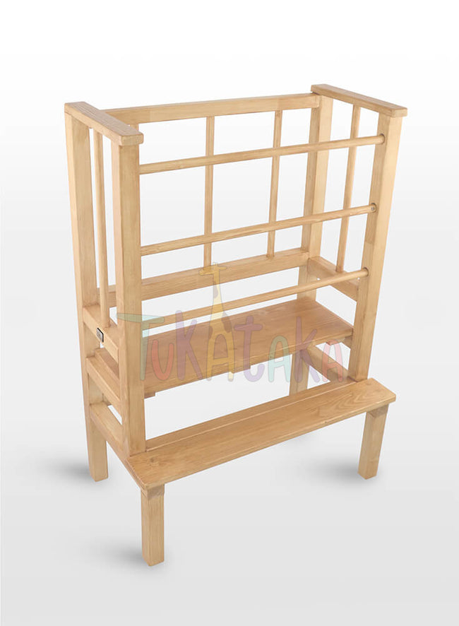 Twin learning tower - for little explorers - Clear varnish